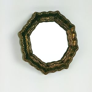 Vintage wall mirror with octagonal gold frame